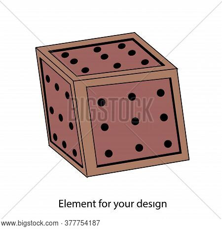 Wooden Box With Holes. Wooden Cube. Vector Illustration