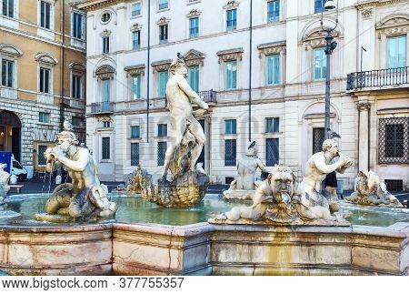 Fontana Del Moro (moor Fountain) Is A Fountain Located At The Southern End Of The Piazza Navona In R