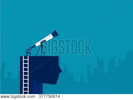 Businessman  Looking Sky On The Head With Big Telescope For Discovery New Investment Concept