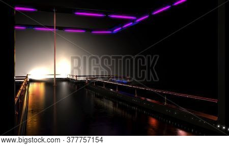 An Empty Strip Club Dancing Stage With A Pole And Brass Railings And Fluorescent Lights Lit By Spotl