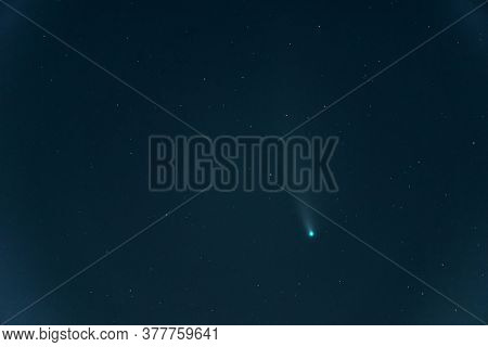 Comet NEOWISE, C / 2020 F3 comet (NEOWISE). Retrograde comet with a near-parabolic orbit. July 22, 2020