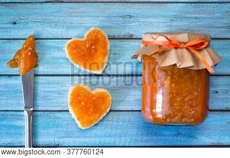 I Love Apricot Jam Concept. Homemade Fruit Jam With Fresh Organic Apricots. Tasty Food.
