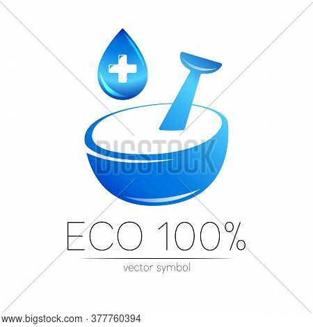 Vector Mortar And Pestle Blue Symbol Logo With Cross And Drop. Ecology Icon Concept For Medicine, Ve