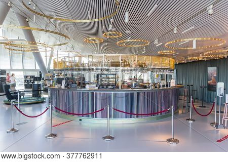 Groningen, Netherlands - July 13, 2020: Empty Bar In The Modern Forum Building In Groningen, Netherl