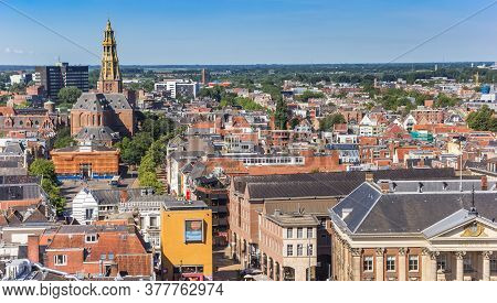 Groningen, Netherlands - July 13, 2020: Aerial View Of The Historic City Center In Groningen, Nether