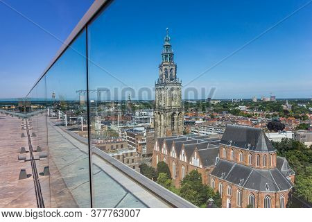 Groningen, Netherlands - July 13, 2020: Historic Martini Church And Tower Through The Glass Screen O