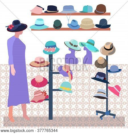 Vector Hand-drawn Boutique Indoor Fashion Store. Modern Hats Store Interior. Collection Elegant Male