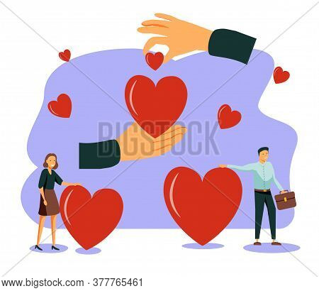 Love Heart Symbol With Holding Hands, Flat Tiny Person Vector Illustration. Charity And Volunteering