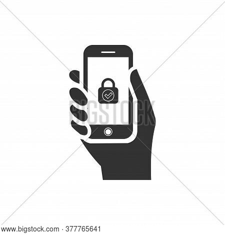 Phone In Hand Icon On White Background. Flat Style. Hand Holdng Black Smartphone Icon For Your Web S