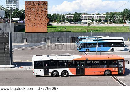 Espoo, Finland - July 19, 2020: Buses On The Bus Station In The Tapiola District Of Espoo.