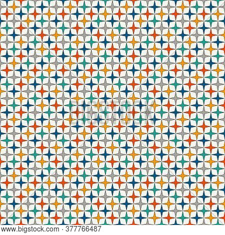 Bright Colors Seamless Pattern With Stylized Repeating Stars. Simple Geometric Ornament. Vivid Digit