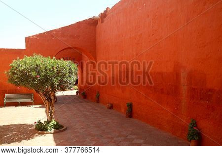 Eye-catching Orange Red Colored Historic Buildings In The Convent Of Santa Catalina De Siena, City O