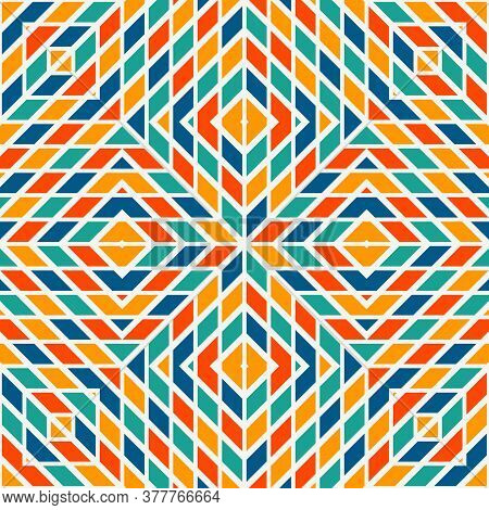 Bright Stained Glass Mosaic Background. Seamless Pattern With Kaleidoscope Geometric Ornament. Check