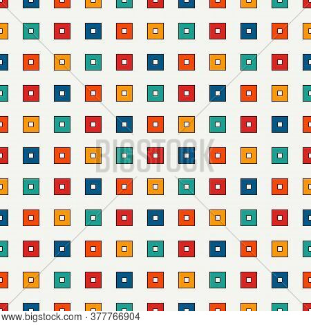 Seamless Pattern With Geometric Ornament. Repeated Bright Square Abstract Background. Vivid Colors S