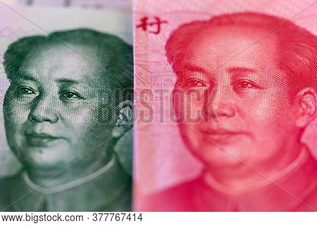 Ten And One Hundred Chinese Renminbi Rmb Bills. Cny Background. Closeup Of Mao Zedong . Chinese Curr