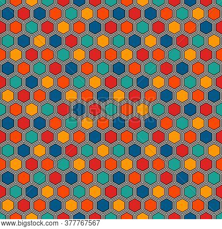 Honeycomb Abstract Background. Vivid Colors Hexagon Tiles Mosaic Wallpaper. Seamless Pattern With Cl