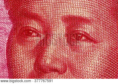 One Hundred Chinese Renminbi Rmb Bills. Cny Background. Closeup Of Mao Zedong . Chinese Currency.