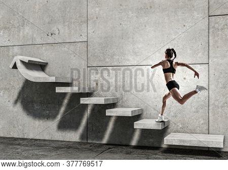 Image of sport woman walking upstairs