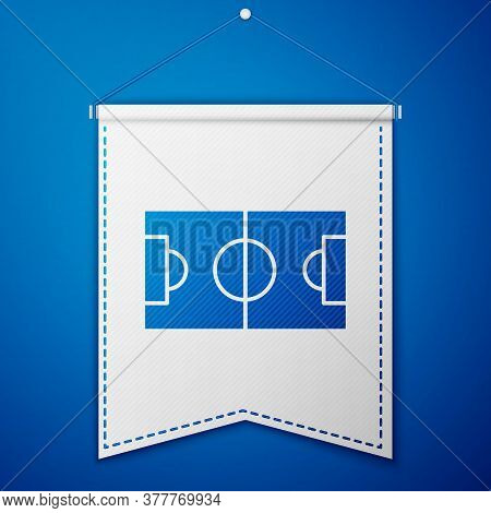 Blue Football Or Soccer Field Icon Isolated On Blue Background. White Pennant Template. Vector Illus