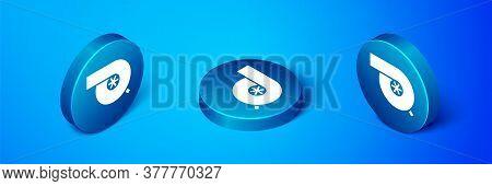 Isometric Automotive Turbocharger Icon Isolated On Blue Background. Vehicle Performance Turbo. Turbo