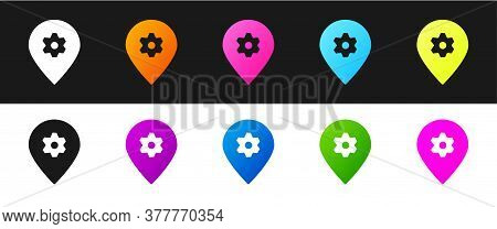 Set Location With Car Service Icon Isolated On Black And White Background. Auto Mechanic Service. Re