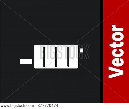 White Car Muffler Icon Isolated On Black Background. Exhaust Pipe. Vector Illustration