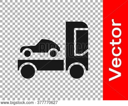 Black Car Transporter Truck For Transportation Of Car Icon Isolated On Transparent Background. Vecto