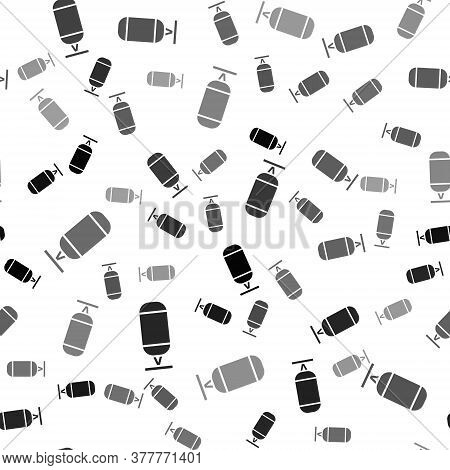 Black Punching Bag Icon Isolated Seamless Pattern On White Background. Vector Illustration