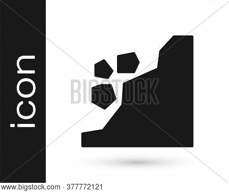Grey Landslide Icon Isolated On White Background. Stones Fall From The Rock. Boulders Rolling Down A