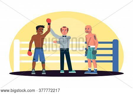 Referee Announcing Afro-american Boxer Win In Ring. Fighter In Red Gloves Victory. Caucasian Male Op
