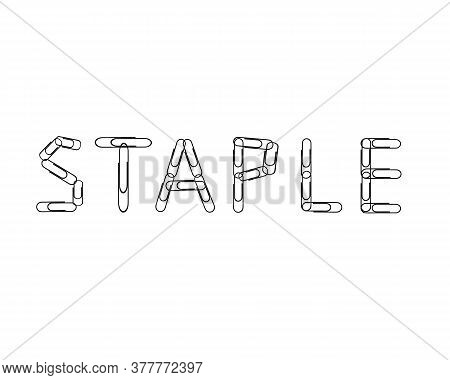 Metal Paper Clips Showing The Text Staple On A White Background. Vector Illustration.