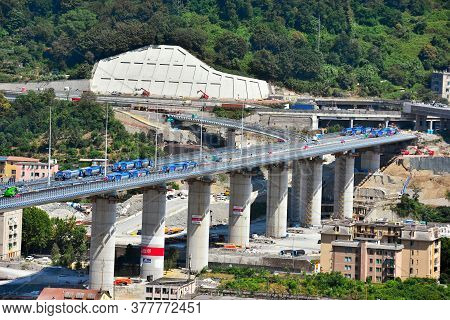 Genoa, Italy, July 20 Testing And Load Tests Of The New Genoa Bridge With Trucks And Radio-controlle