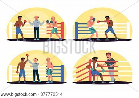Afro-american And Caucasian Boxers With Referee In Ring Sport Championship Set. Fight, Battle, Comba