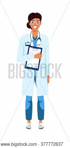 Female Doctor Flat Vector Character. Dark Skin Nurse, Medic On White Background. Therapist, Physicia