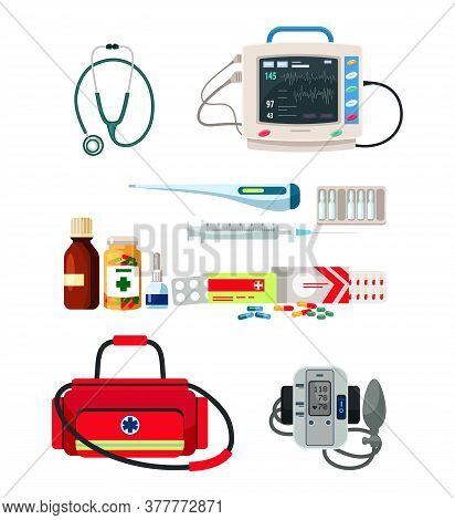 Doctor Supplies For Diagnosis And Treatment Set. Medical Bag, Electronic Tonometer, Stethoscope, Pha