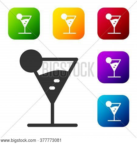 Black Martini Glass Icon Isolated On White Background. Cocktail Icon. Wine Glass Icon. Set Icons In
