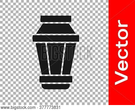 Black Garden Light Lamp Icon Isolated On Transparent Background. Solar Powered Lamp. Lantern. Street
