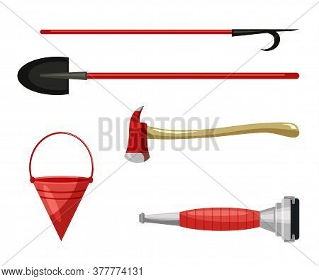 Work Tool To Free People Injured In Fire Flat Set. Extinguishing Hose Pipe Nozzle, Cone-shaped Bucke