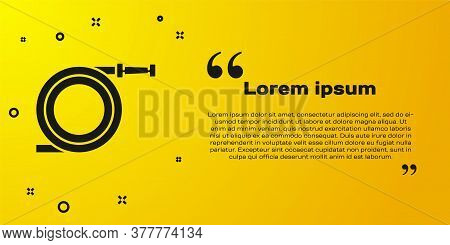 Black Garden Hose Or Fire Hose Icon Isolated On Yellow Background. Spray Gun Icon. Watering Equipmen