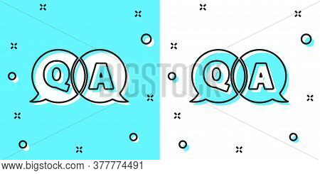 Black Line Speech Bubbles With Question And Answer Icon Isolated On Green And White Background. Q An