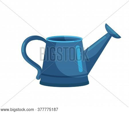 Blue Watering Can Garden Equipment Tool Isolated On White Backdrop. Farmer Item Equipped With Two Ye