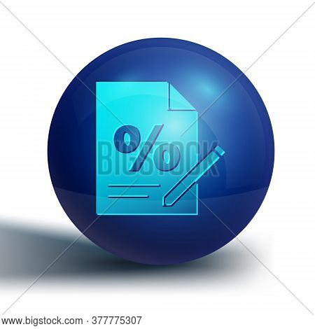 Blue Finance Document Icon Isolated On White Background. Paper Bank Document For Invoice Or Bill Con
