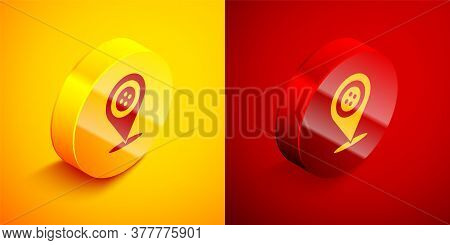 Isometric Location Tailor Shop Icon Isolated On Orange And Red Background. Circle Button. Vector Ill