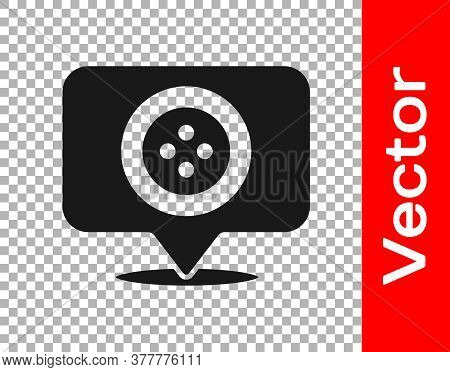Black Location Tailor Shop Icon Isolated On Transparent Background. Vector Illustration