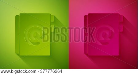 Paper Cut Address Book Icon Isolated On Green And Pink Background. Notebook, Address, Contact, Direc