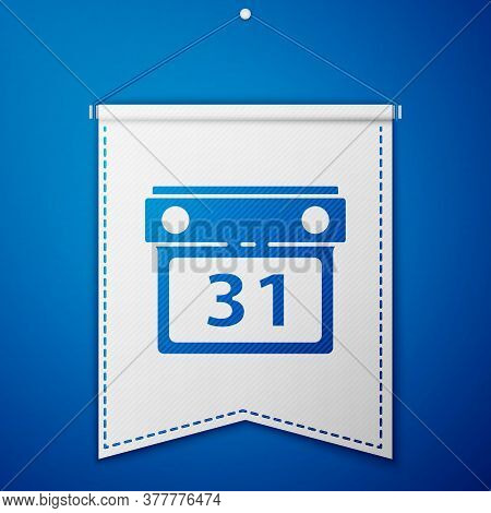 Blue Calendar Icon Isolated On Blue Background. Event Reminder Symbol. White Pennant Template. Vecto