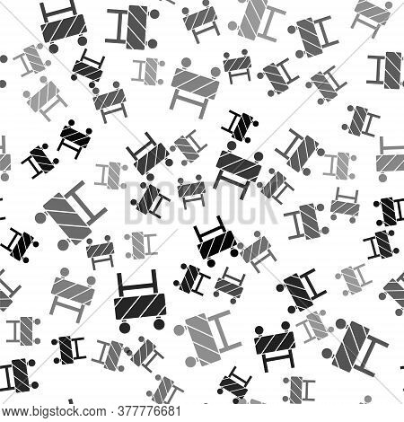 Black Road Barrier Icon Isolated Seamless Pattern On White Background. Symbol Of Restricted Area Whi
