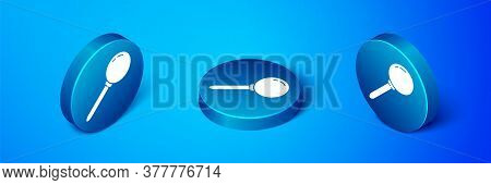 Isometric Push Pin Icon Isolated On Blue Background. Thumbtacks Sign. Blue Circle Button. Vector Ill