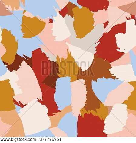 Seamless Abstract Nude Texture Pattern. Burgundy, Brown, Beige, Blue, Cream Colour Brush Strokes On