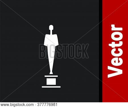 White Movie Trophy Icon Isolated On Black Background. Academy Award Icon. Films And Cinema Symbol. V